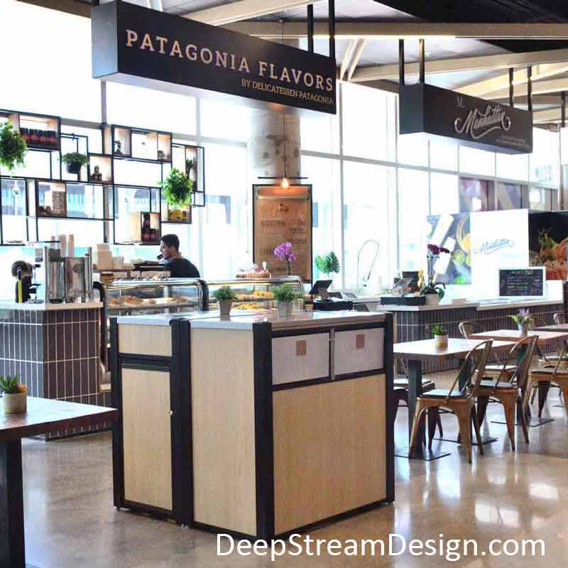 Large, modern, custom Commercial Restaurant Combination Trash and Recycling Receptacles inside a hip Miami Food Hall.