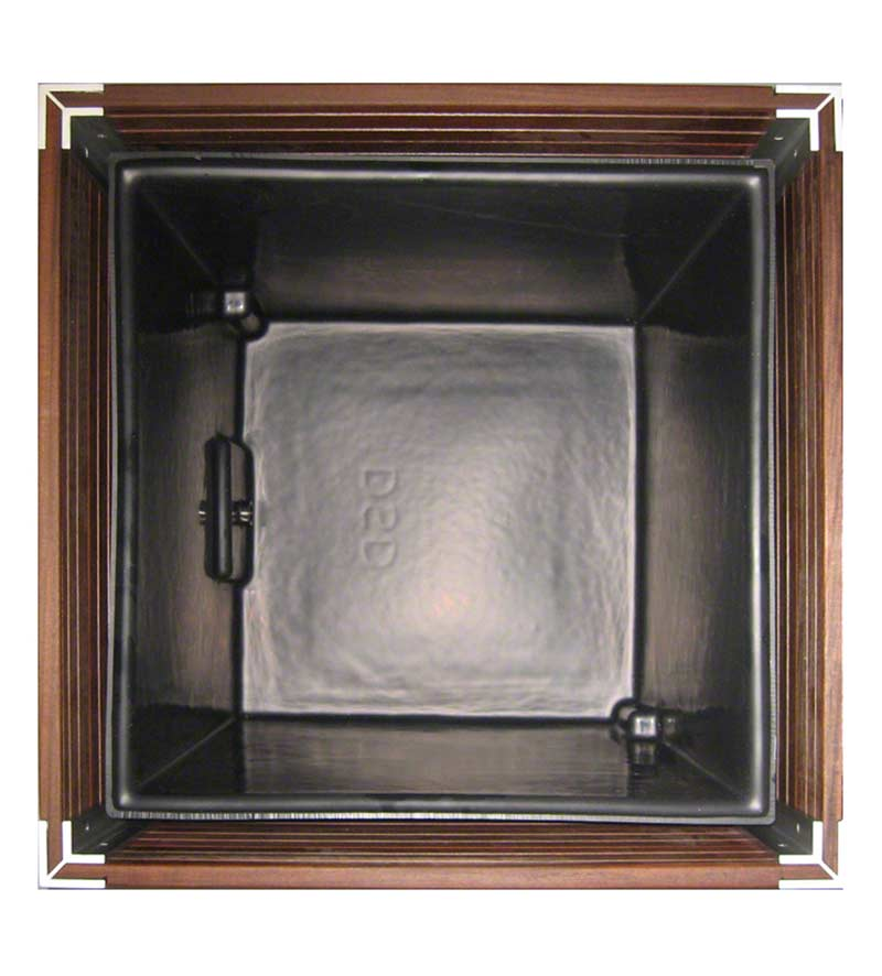 A studio photo looking straight down inside a square wood restaurant planter showing how the waterproof liner sits inside on a hidden structural aluminum frame