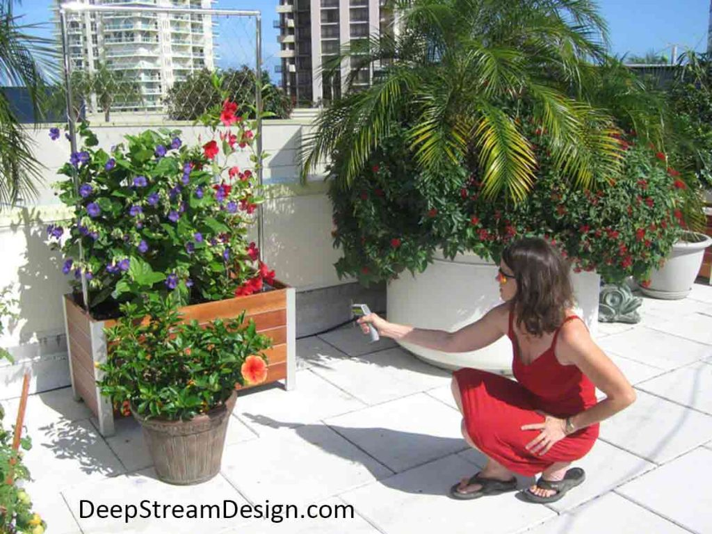 Woman on a tropical penthouse roof deck measuring the temperature of a planter heated by the sun.