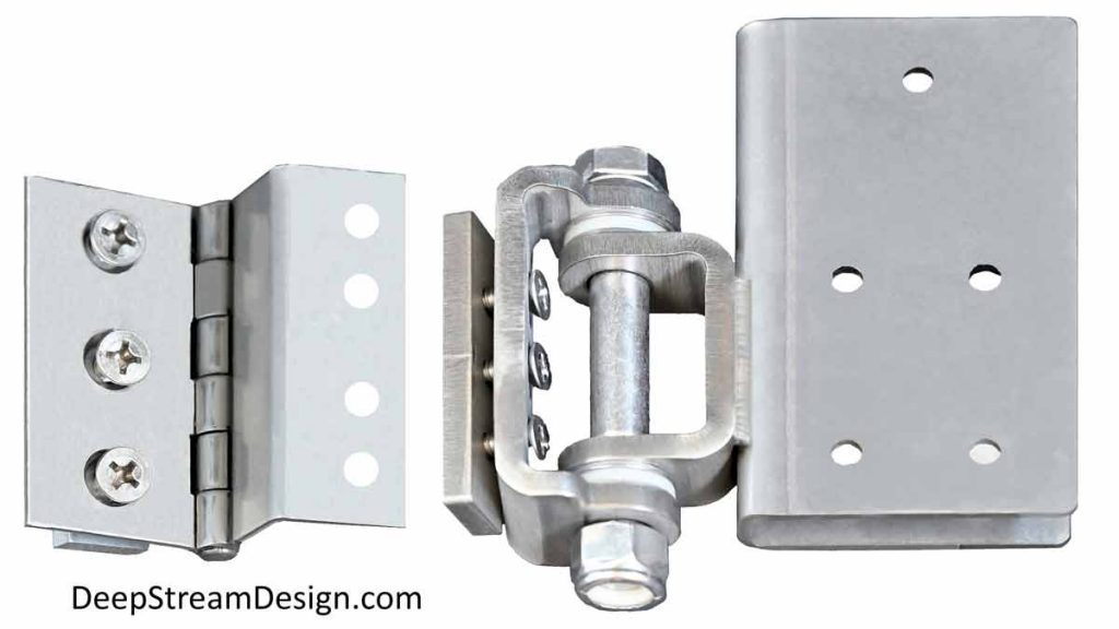 A studio photo of DeepStream's proprietary lightweight and a very heavy duty hinge options made of 316 stainless-steel