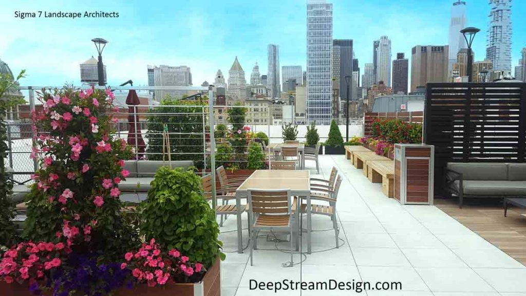 Modern Commercial Mariner Wood Planters filled with bright flowering vines anchor the roof deck privacy screen walls of a Manhattan building lounging and dining area with stunning views of the city skyline.