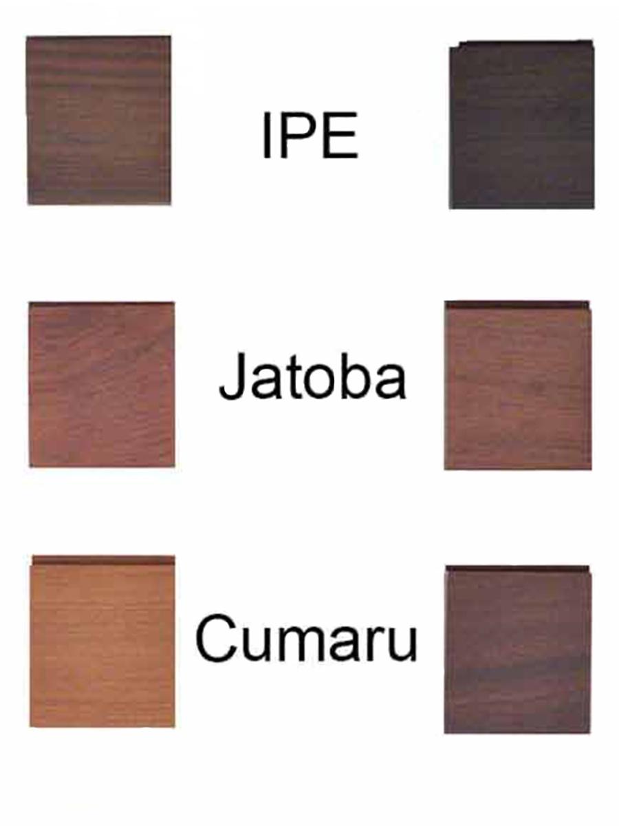 2 color shade samples of 3 natural tropical hardwoods from darkest to lightest: Ipe, Jatoba. Cumaru, Lyptus