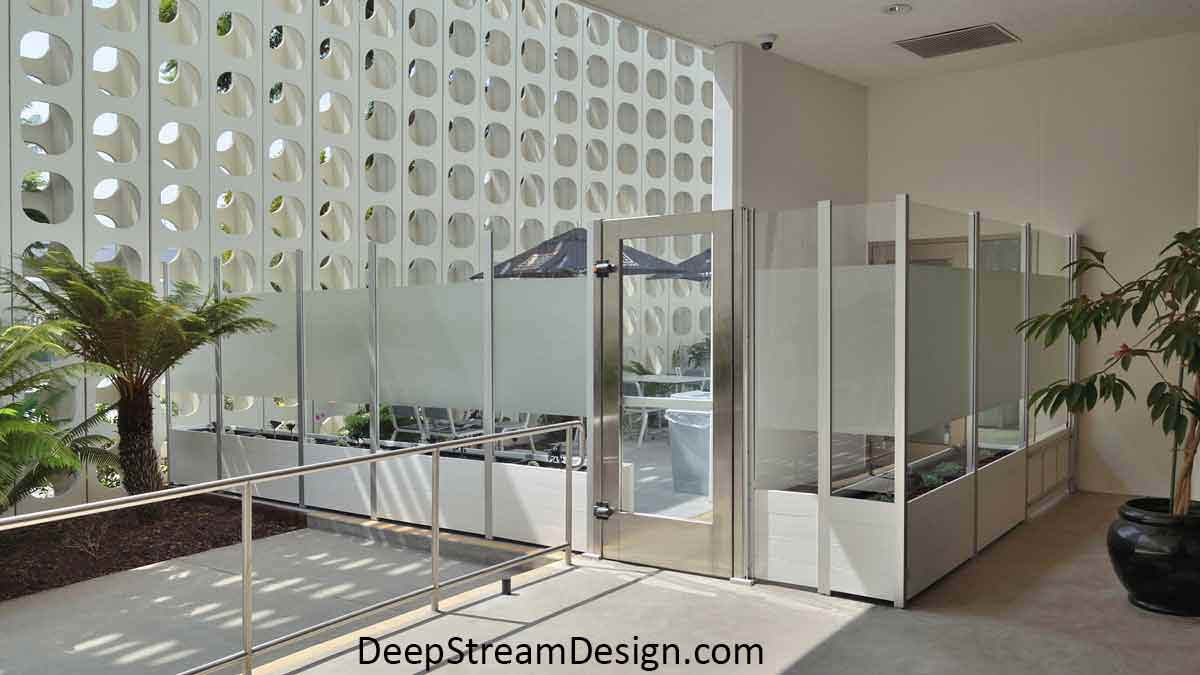 Ultra-Modern commercial modular Long Wood Garden Planters crafted with white recycled plastic lumber are mounted with integrated glass security screen wall and stainless-steel door for the iconic Los Angeles International Airport's futuristic central hub.