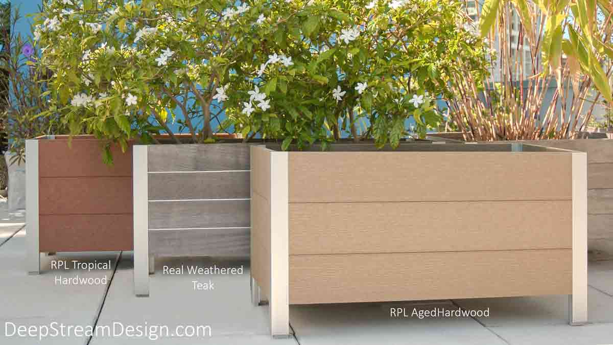Three landscaped planters on a tropical roof deck. Two planters made with recycled plastic lumber flank one made with aged Ipe Tropical hardwood to contrast color and finishes.