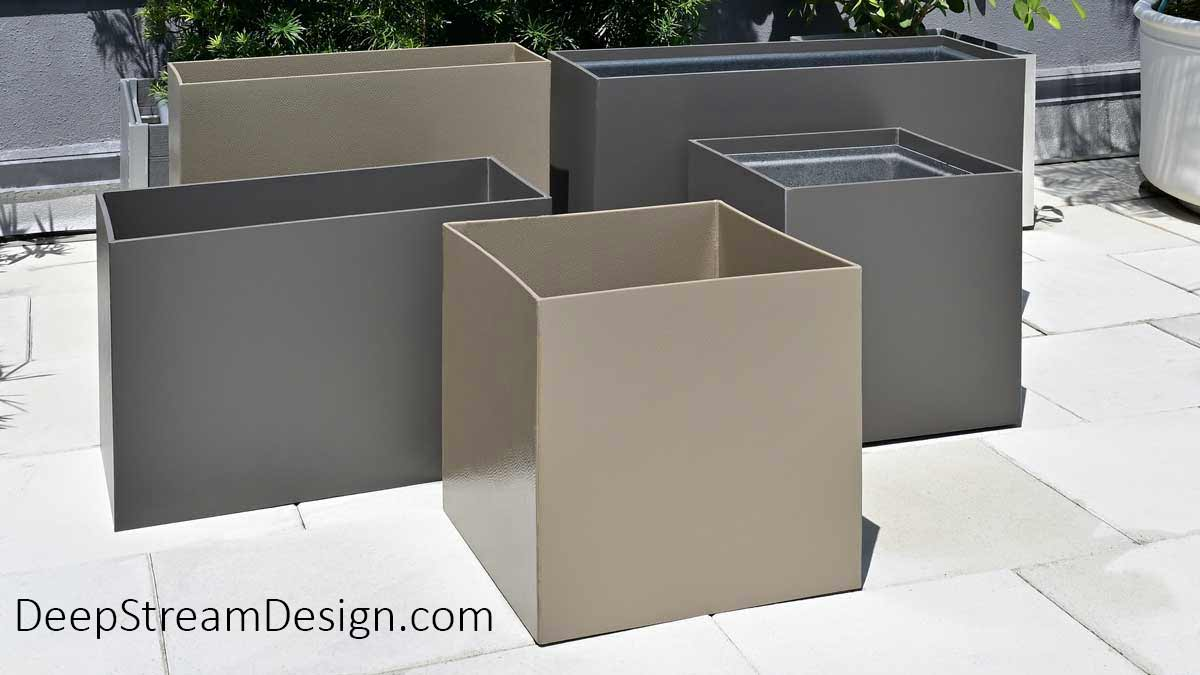 Modern tall and short, square and rectangular Food Safe Plastic Planters are shown in Shale Grey and Hammered Nickel colors with and without optional food safe plastic planter liners in a tropical Miami roof deck setting.