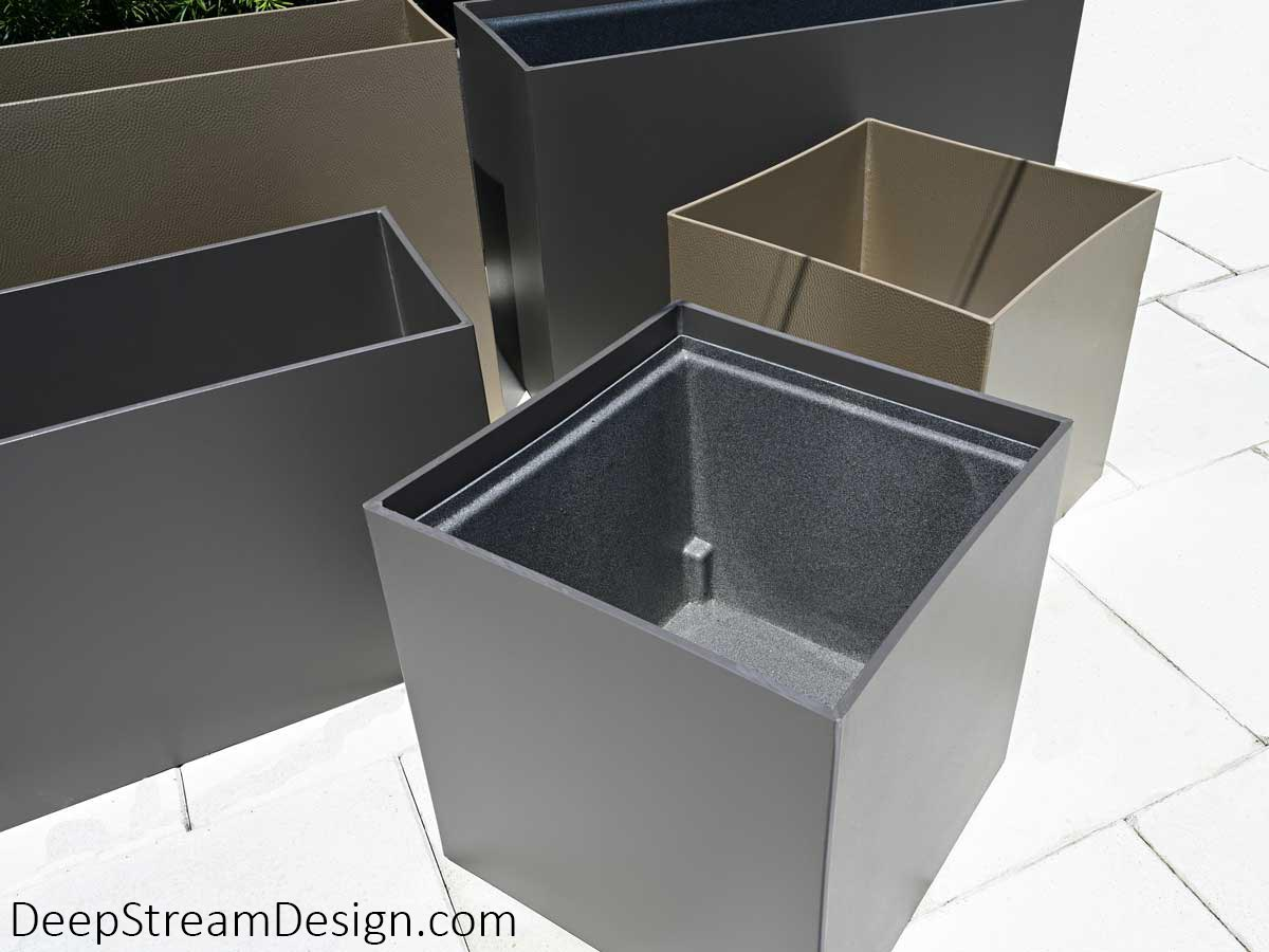 Modern tall and short, square and rectangular Food Safe Plastic Planters are shown in Shale Grey and Hammered Nickel colors with one planter showing exactly how the optional food safe plastic stock planter liner fits inside.