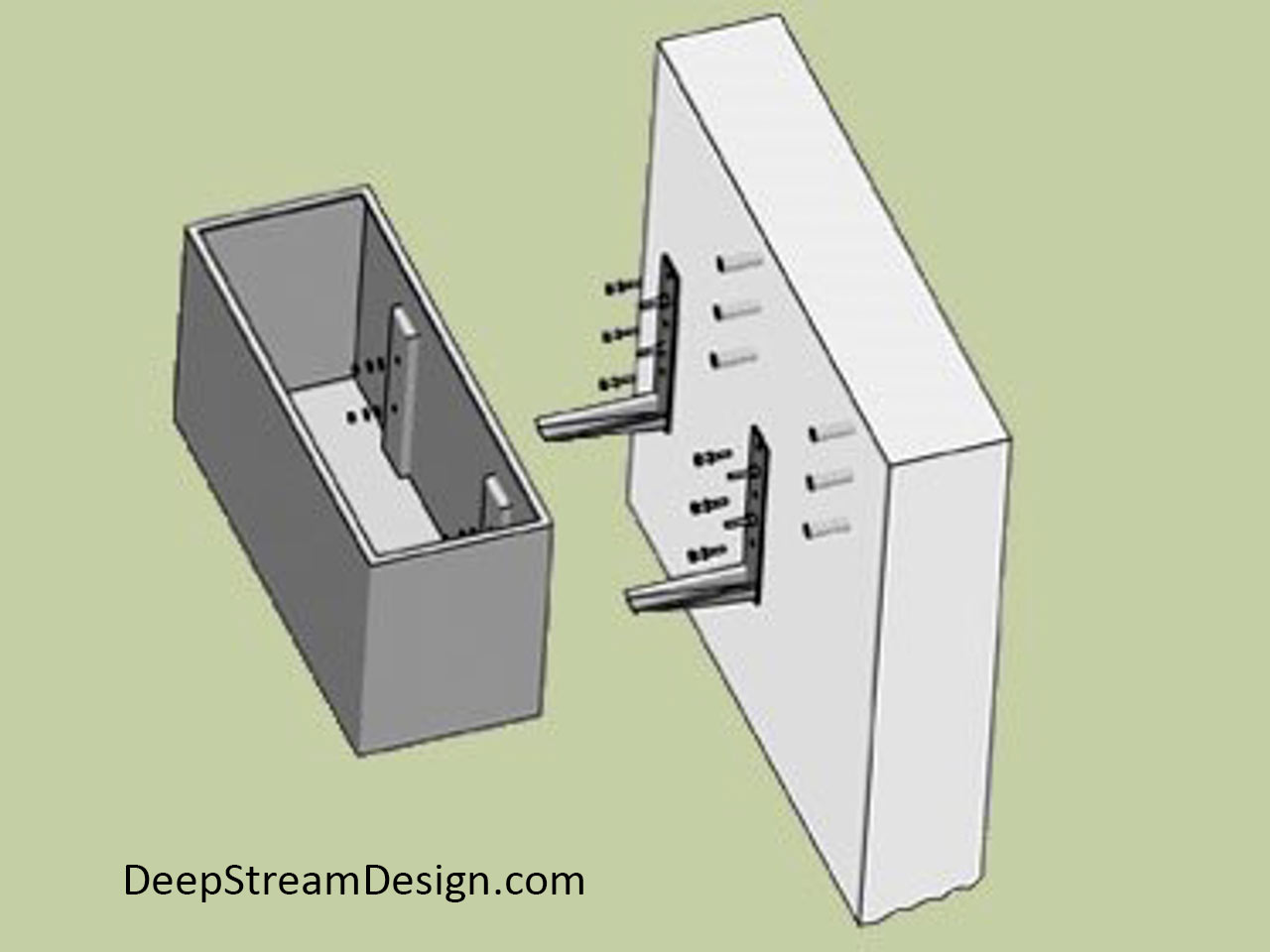 Detailed sketch showing the mounting system for the Wilshire Commercial Hanging Planter Boxes to a vertical surface.