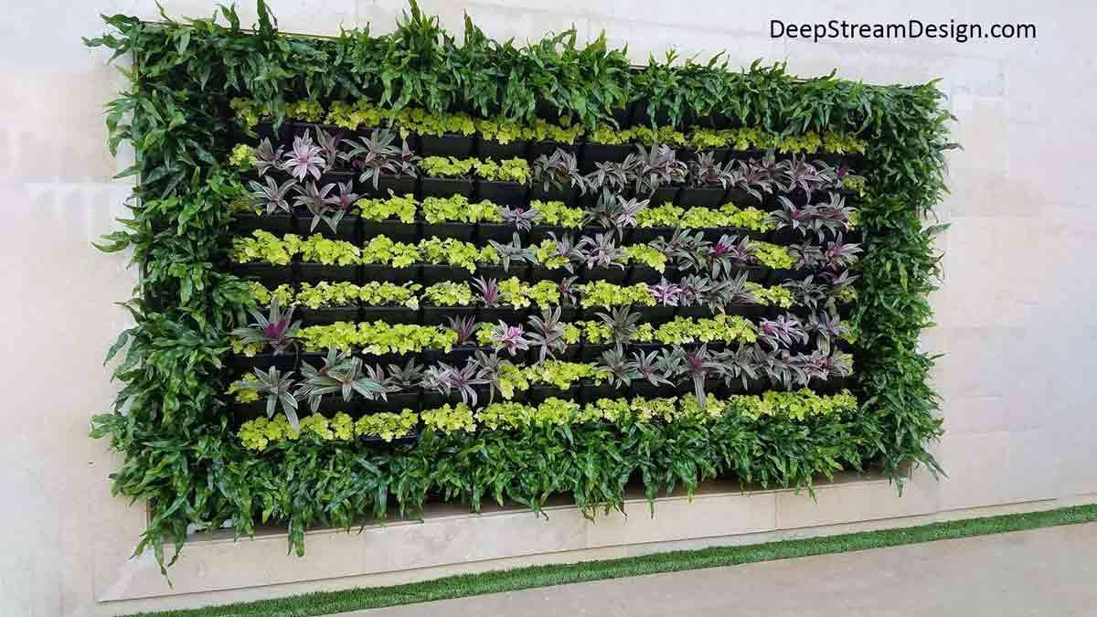 """A white marble building wall """"hung"""" with a large rectangular Live Wall art piece created with a border of long leaf green plants surrounding 8 rows of shorter plants of a lighter and darker green shade inside the border."""