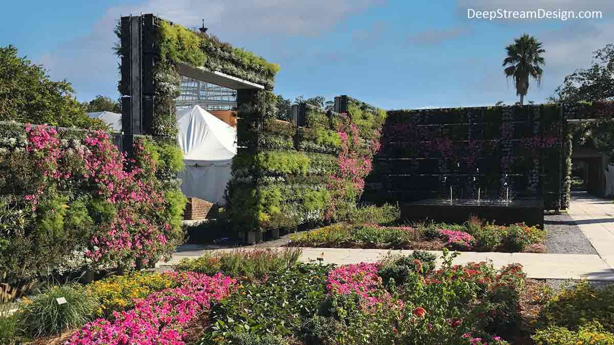 As could only been imagined in New Orleans, the Botanical Gardens created an over the top, tall rectangular entrance Live Wall and Green Wall Arch using Tournesol's easy to maintain VGM-Modular Live Wall system planted with thousands of grasses, bushes, and flowering plants to create a Vertical Garden of splendor.