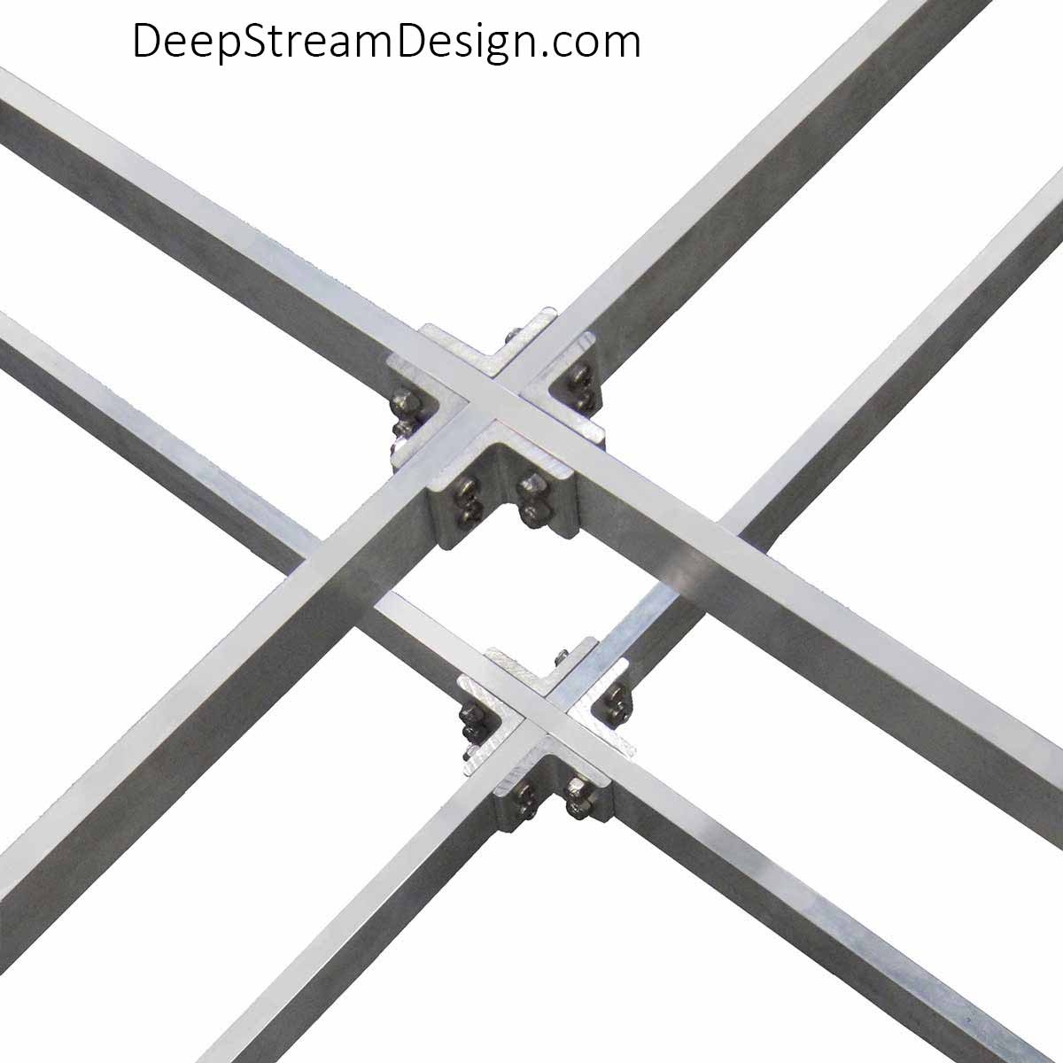 Studio photo showing the detail of the double aluminum cross bracing joins DeepStream's trademark proprietary structural aluminum frame.