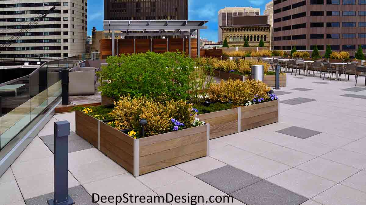 Looking towards Boston's city center, extra Large Wood Garden Planters  and extra large landscaping planters with waterproof planter liners and advanced drainage are perfectly landscaped with flowers and bushes on Boston's Historic Exchange Place 14th floor roof deck.