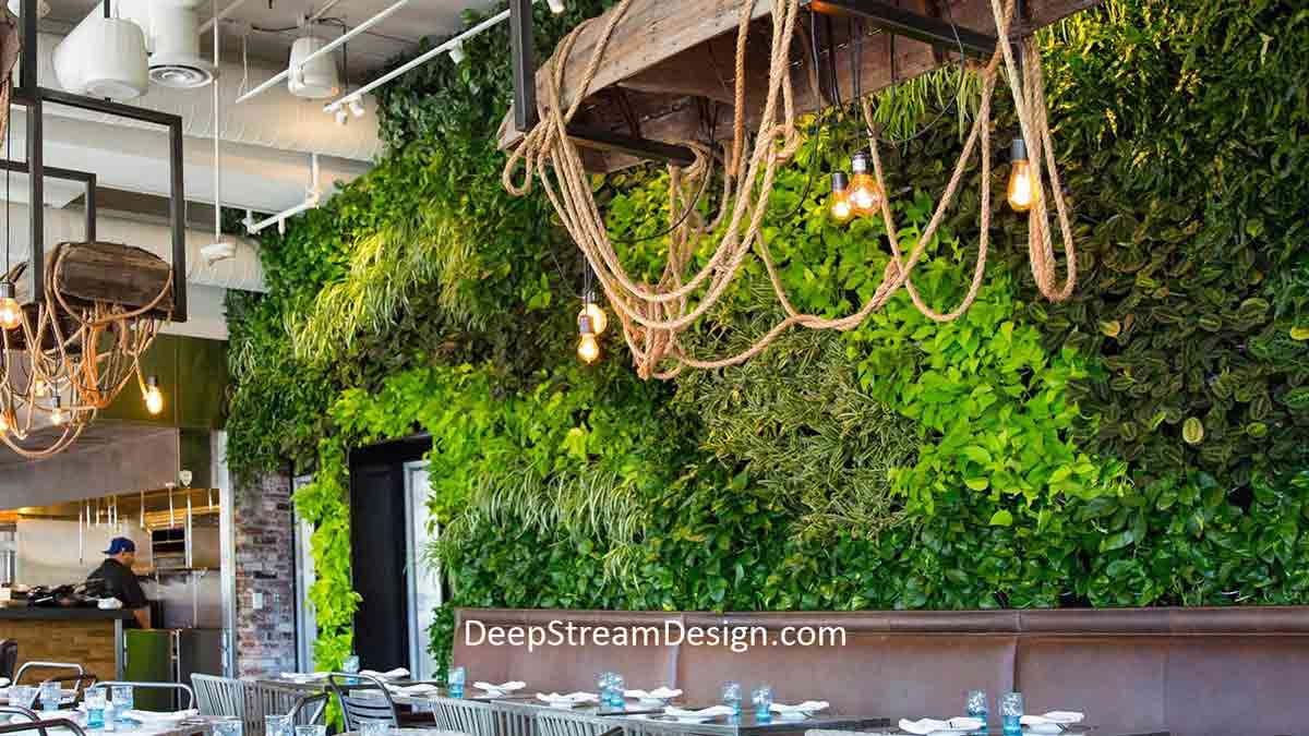 Interior Live Wall is the focal point of this restaurant created using TerraScreen®. Often described as living art, the TerraScreen® allows the designer, landscaper, or owner to use plants to establish a living, breathing focal point, as seen here.