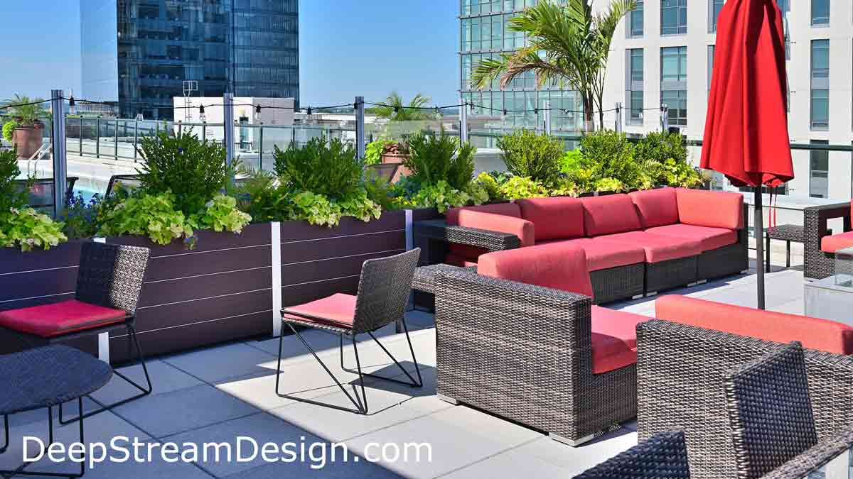 A row of lushly landscaped modern Large Wood Garden Planters, with planter liners and integrated glass screen wall that creates a protective access barrier between pool area with sunbeds and a lounging area on the other side of the glass, for the tenants of this upscale converted urban industrial loft condo building, featuring a roof terrace with stunning urban views of the high-rise financial district.