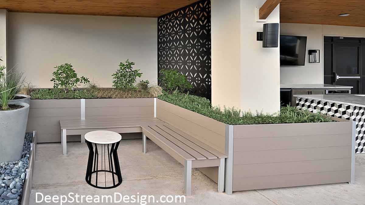 Large Garden Planters and benches in aged hardwood colored recycled plastic lumber create a natural atmosphere for the roof deck outdoor BBQ and dining area of an apartment building.