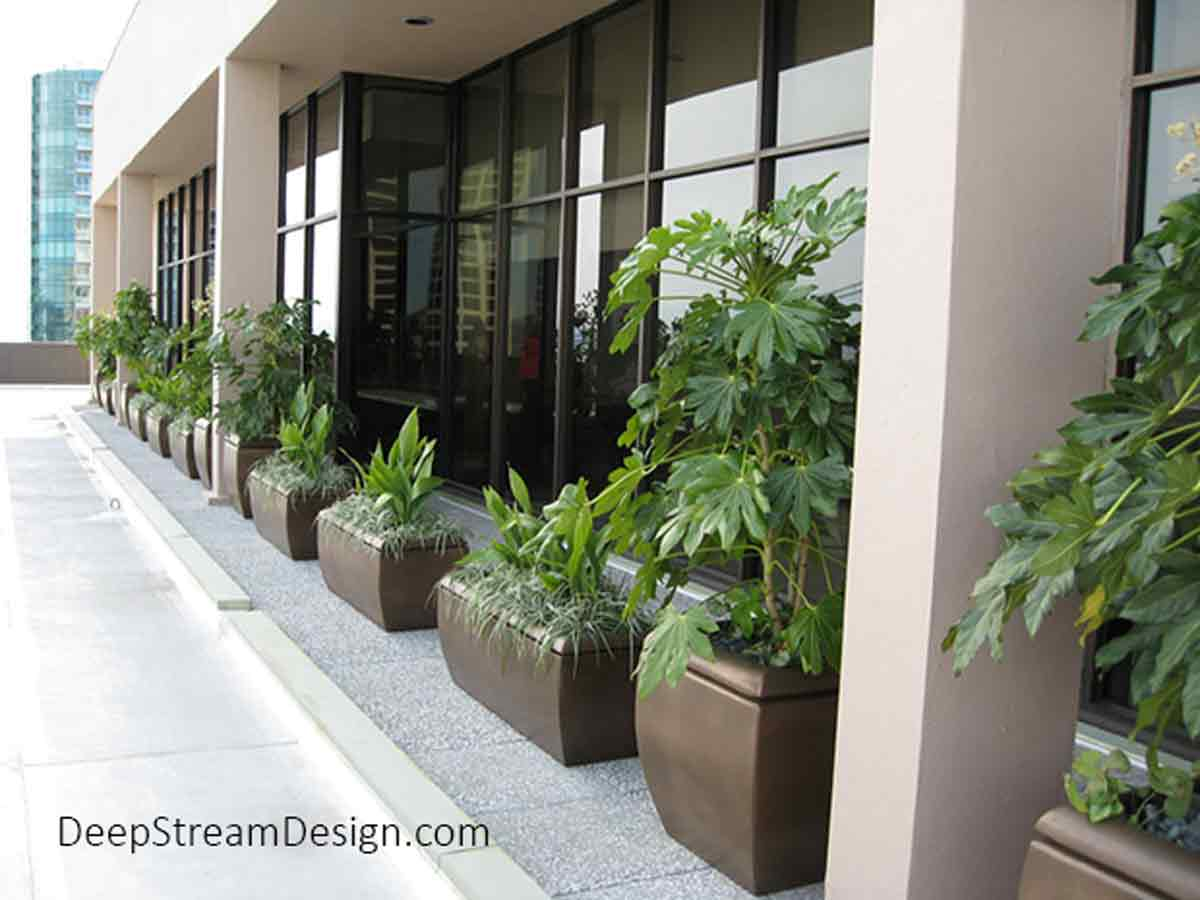 Many long rounded rectangular and cube shaped bronze colored Metro Fiberglass Garden Planters landscaped with dark green grass and leafy plants line the line the front of a commercial building terrace patio, just outside the windows.