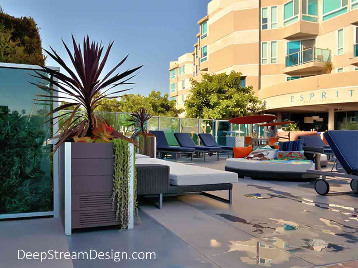 The Best Stereo Planter Speakers are The Best Stereo Speakers covered by The Best Outdoor Enclosures. The Best Planter Outdoor Stereo Speaker Enclosures are built by DeepStream, seen here in recycled UV-stabilized marine-grade HDPE no-maintenance plastic, blending in with the modern all-weather furniture at this Marina del Rey, California ocean-front condominium pool deck.