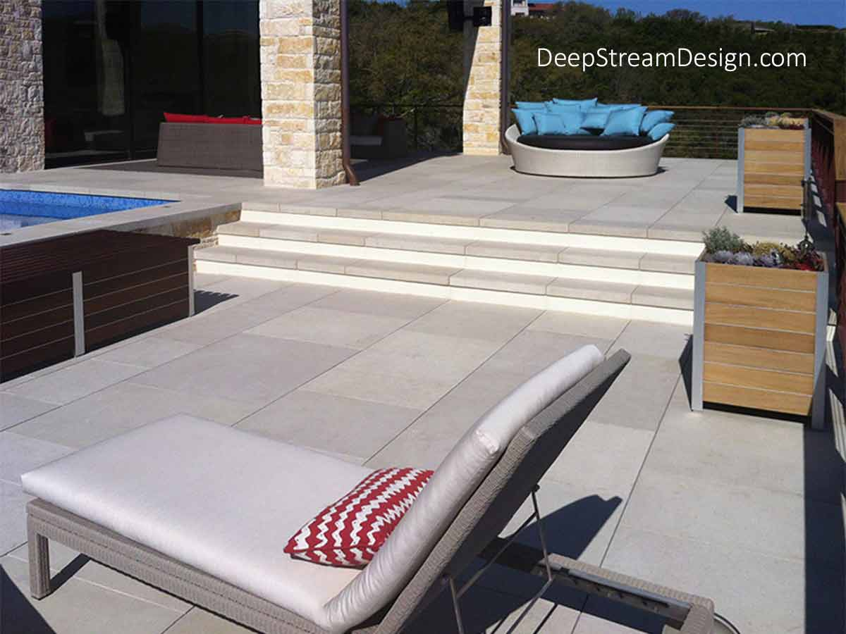 The Best Stereo Planter Speakers are The Best Stereo Speakers covered by The Best Outdoor Enclosures. The Best Planter Outdoor Stereo Speaker Enclosures are built by DeepStream, seen blending in with the modern furniture at this Austin, Texas, hill country estate's expansive stone pool deck.