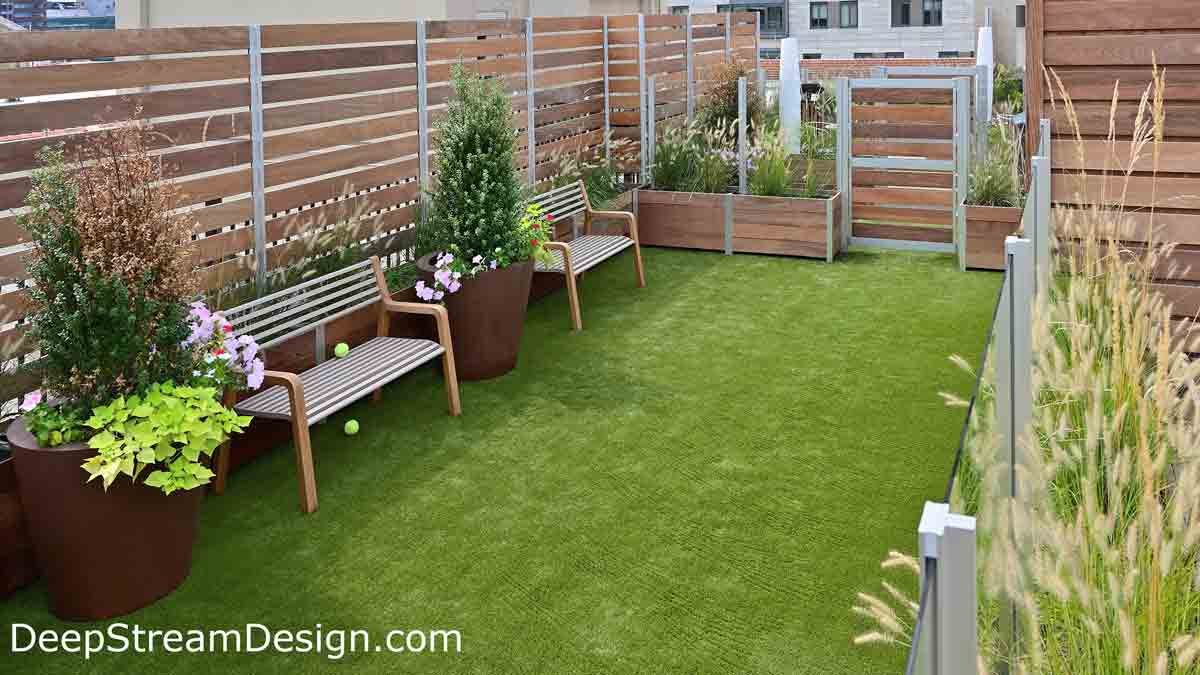 Large wood Planters with Gates are part of an expansive wood and glass screen wall enclosure, anchored by wood garden planters that form the dog park on the roof terrace of an urban apartment building. Landscaped planters and benches bring calming nature to the city.