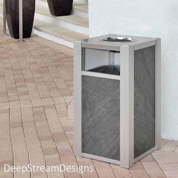 Audubon Modern Commercial Ash Trash Can with #400015 single hole 316 stainless steel lid with ashtray bowl. Side panels are Txtr-Lite natural slate panels.