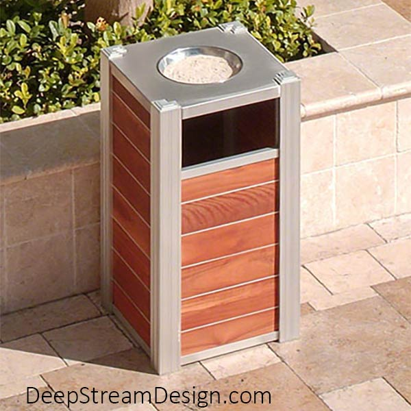 Audubon Modern Wood Commercial Ash Trash Can with #400015 single hole 316 stainless steel lid with ashtray bowl and optional Zephyr aluminum bands between tropical hardwood planks.