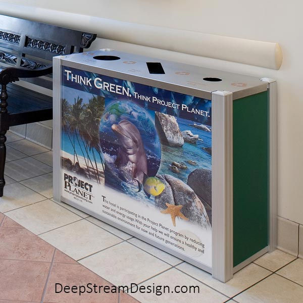 Audubon 21-gallon triple-stream modern commercial combined recycling and trash receptacle with quick-change advertising panel.