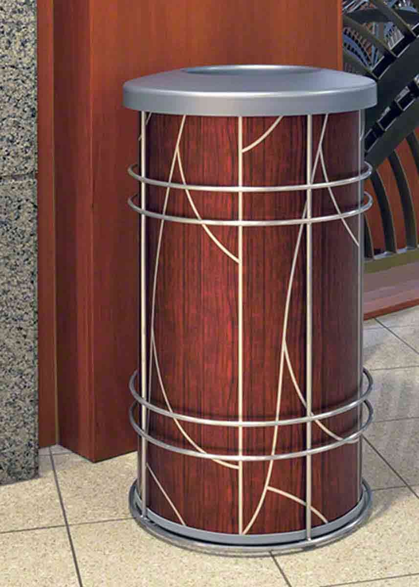 The Chameleon elegant modern commercial trash can is shown here in a hospital lobby with a modern art deco aluminum skin by ATI Decorative Laminates, one of 100 of choices, inside its rugged minimalist 304 stainless steel frame.