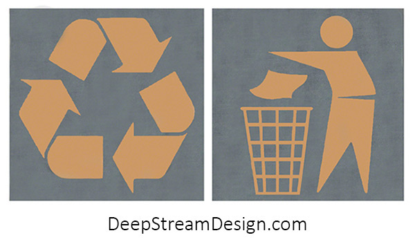 """DeepStream 316 Stainless Steel and Enamel 3"""" X 3"""" International Symbols Badges for Modern Commercial Combined Recycling and Trash Receptacles and Modern Commercial Recycling and Trash Bins."""