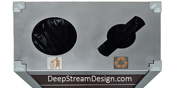 """DeepStream International Symbol Badges for Trash and Recycling 316 Stainless Steel and Enamel 3"""" X 3"""" shown applied to the stainless steel lid of an Audubon dual-stream Modern Commercial Combined Recycling and Trash Receptacle."""