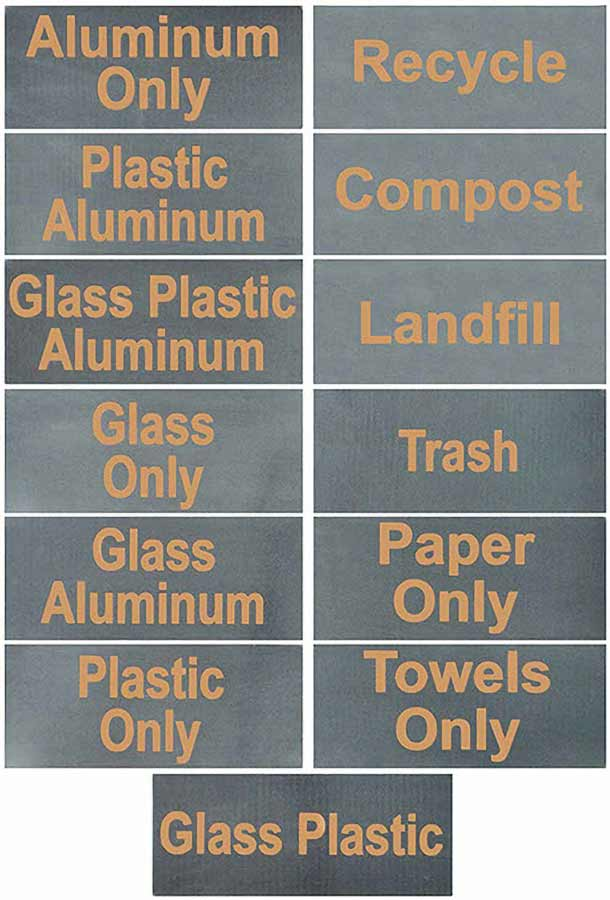 DeepStream 316 Stainless Steel and Enamel Name Badges; for Modern Commercial Combined Recycling and Trash Receptacles as well as Modern Commercial Recycling and Trash Bins.