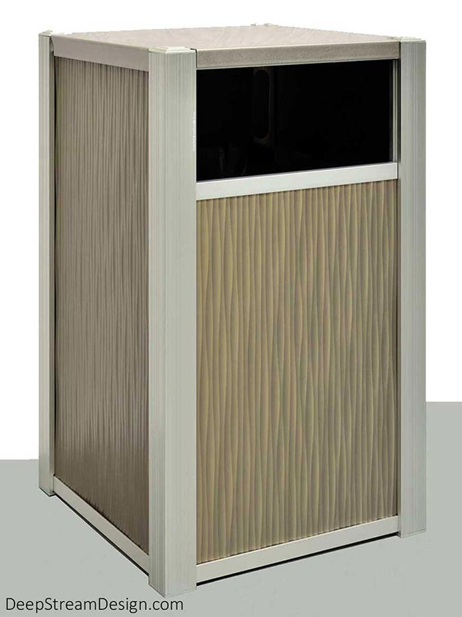 A studio photo of DeepStream's modern commercial recycling or trash bin, crafted with sculpted 3-dimensional aluminum panels by Gage Metal and framed by 316 stainless steel and anodized aluminum.