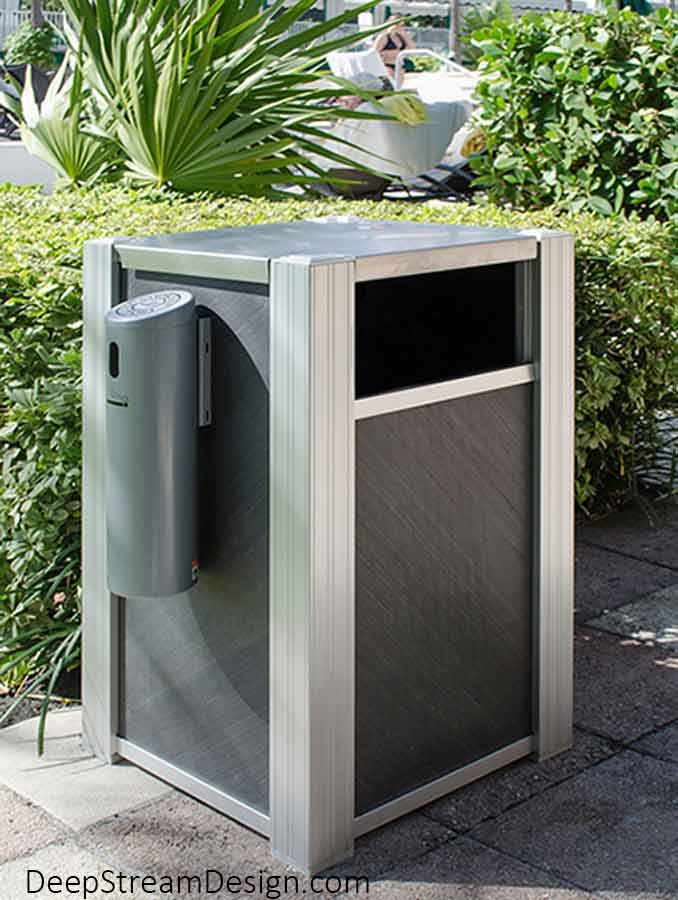 DeepStream's Audubon Modern Commercial Trash Can with a Smokers Outpost serves unobtrusively poolside at a tropical boutique hotel as a convenience for guest blending in seamlessly with the lushly landscaped beachfront property.