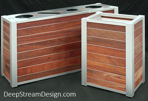 Modern Commercial Wood Combined Recycling and Trash Receptacle with matching food tray cart and aluminum zephyr band option between planks.