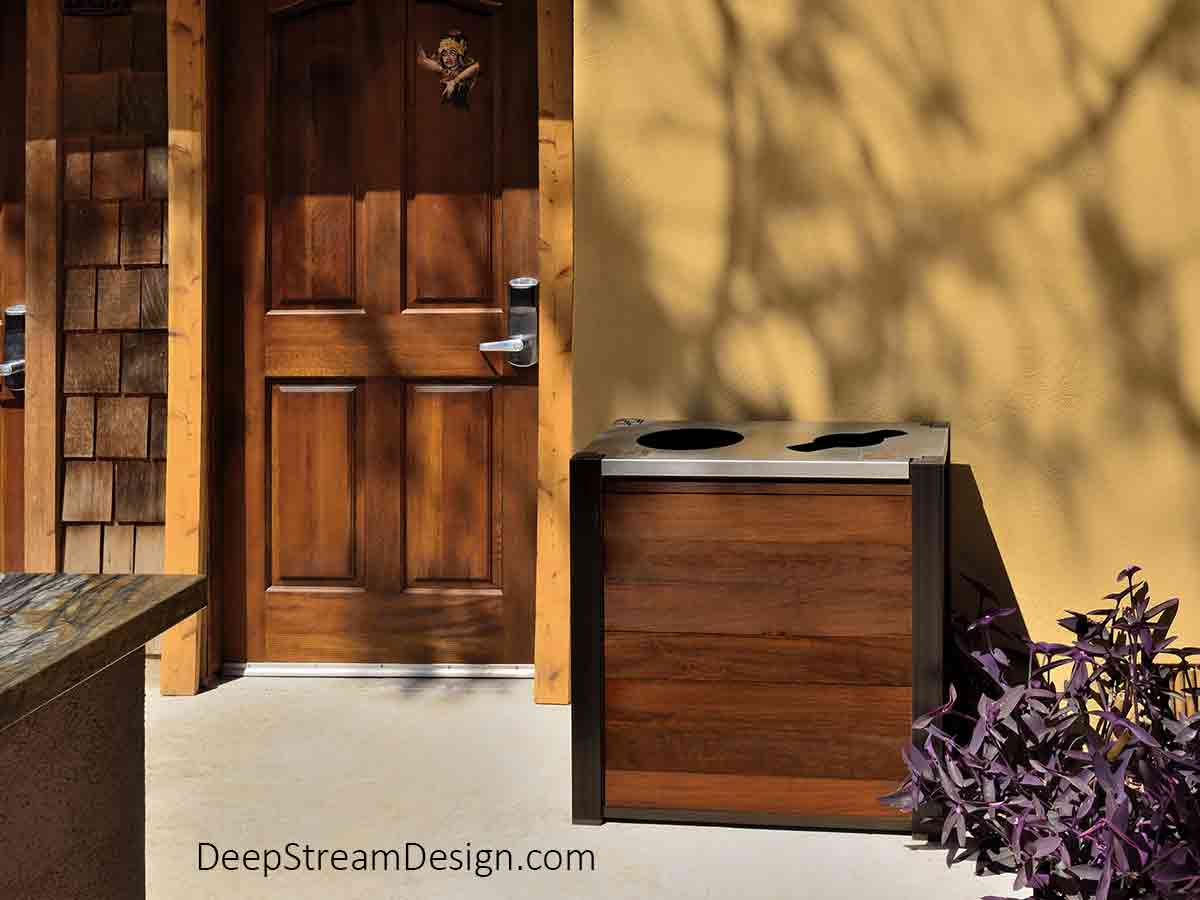 DeepStream Audubon modern commercial combined recycling and trash receptacle with Ipe tropical hardwood panels outdoors at beachside boutique hotel just off California's Pacific Coast Highway.