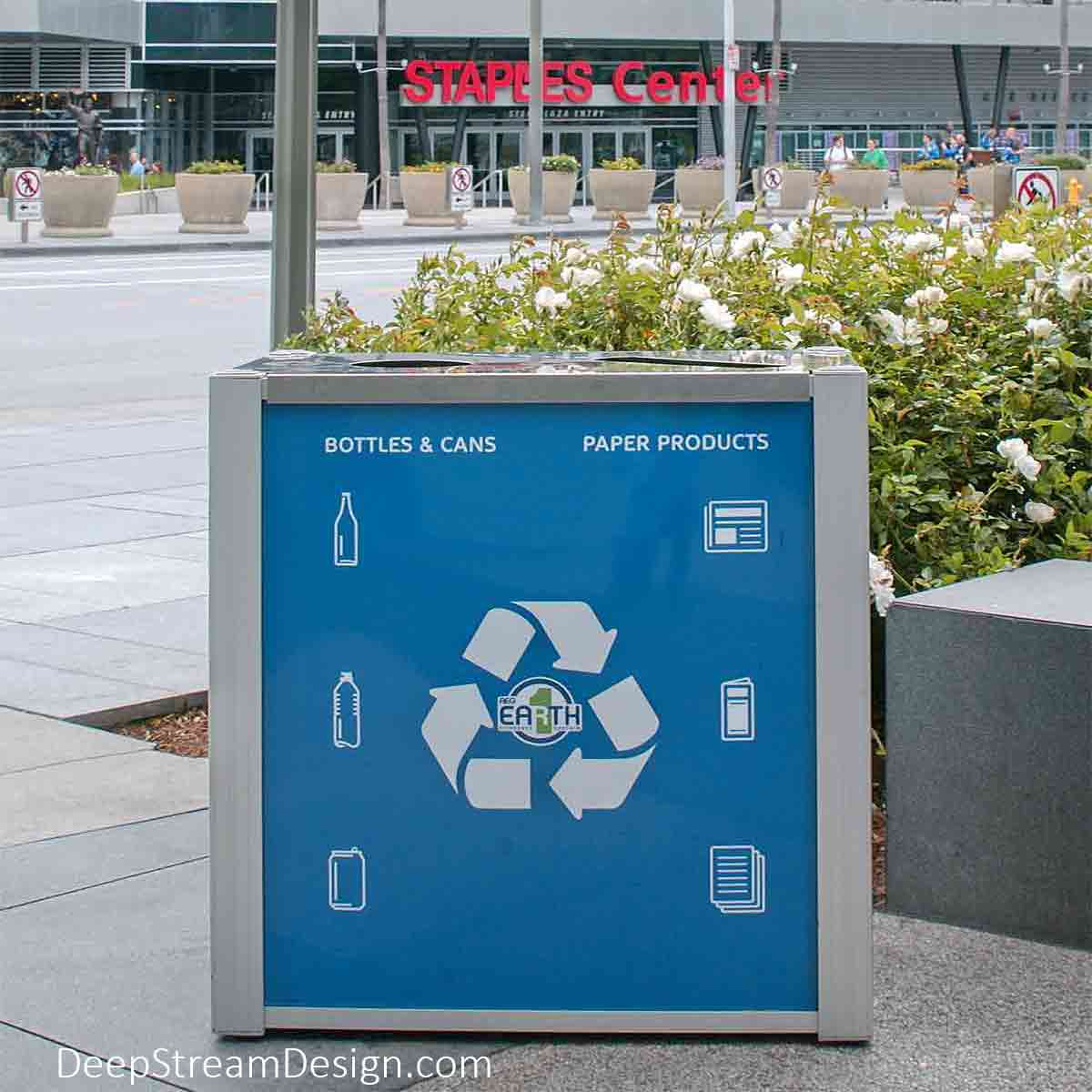DeepStream Audubon dual-stream Commercial Combined Recycling and Trash Receptacles crafted with quick change advertising panels for Earth Day at the Staples Center in downtown Los Angeles.