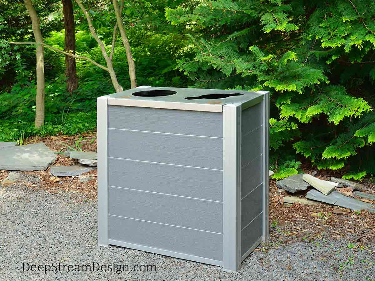 DeepStream's modern Audubon combination recycling and trash bin constructed with Cement Gray recycled plastic lumber instead of tropical hardwood helps prevent destruction of the worlds rainforests.