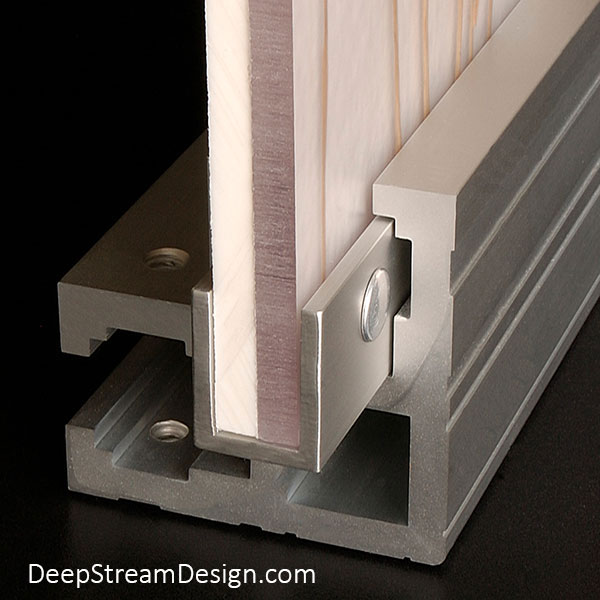 A studio photo showing how DeepStream's proprietary aluminum leg extrusion allows for the use of the thinnest version an expensive piece of 3form Eco-Resin, or any other material, and back it with an inexpensive white backer panel to form a cost-effective panel for Custom Commercial Combined Recycling and Trash Receptacles and Commercial Recycling and Trash Bins.