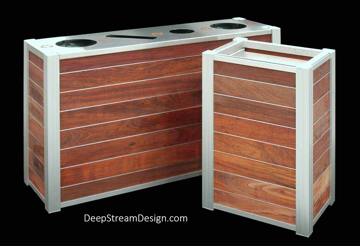 A studio photo of a DeepStream Audubon quad-stream 21-gallon Modern Commercial Combined Recycling and Trash Receptacle constructed with a 316 stainless steel lid and proprietary aluminum legs holding dark red tropical wood planks separated by thin Zephyr aluminum bands. It is photographed with a matching Food Tray Cart.