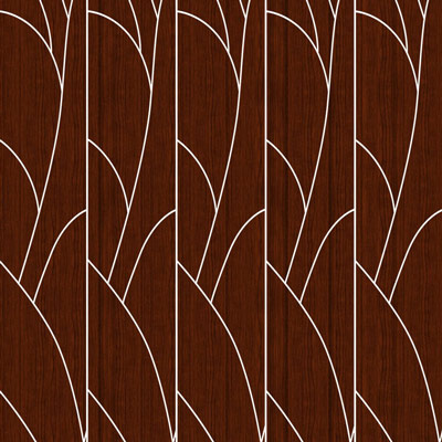 A color sample of ATI Laminates Fusion Aluminum Panel with the art deco Tree pattern printed in silver on dark cherry wood background.