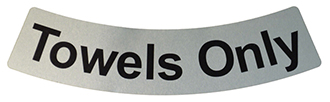 Stainless Steel Chameleon Nautique Towel Bin adhesive-backed Nameplate Label.