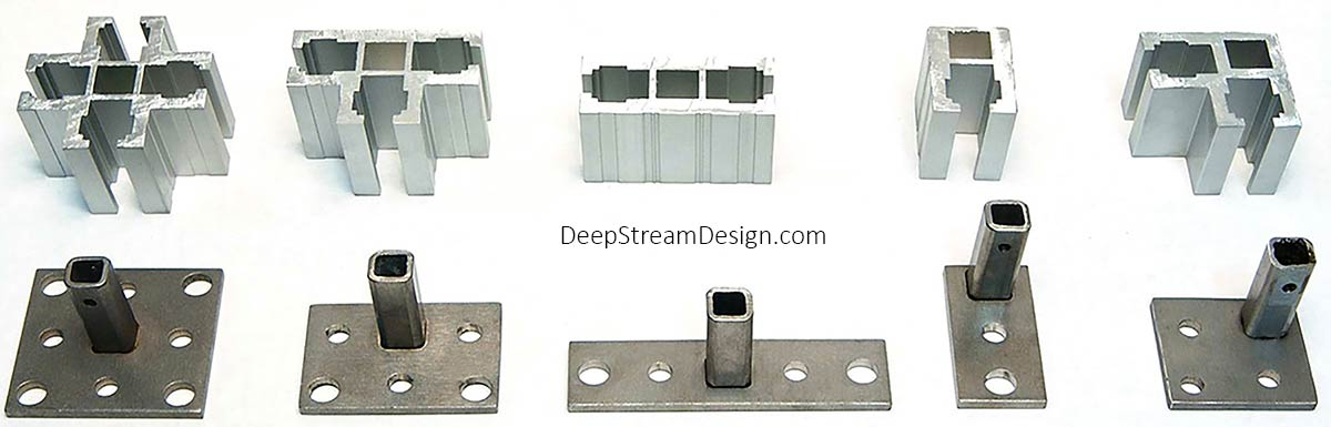 A studio photo showing DeepStream's 5 primary Audubon Structural Architectural Aluminum Extrusions and optional matching stainless steel mounting feet.