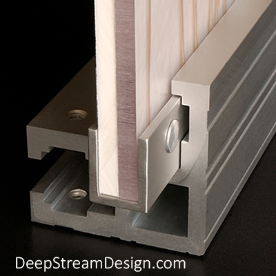 A studio photo showing DeepStream's Audubon Structural Architectural Aluminum Corner Extrusion with a slide-in-easy panel of 3form Ecoresin.