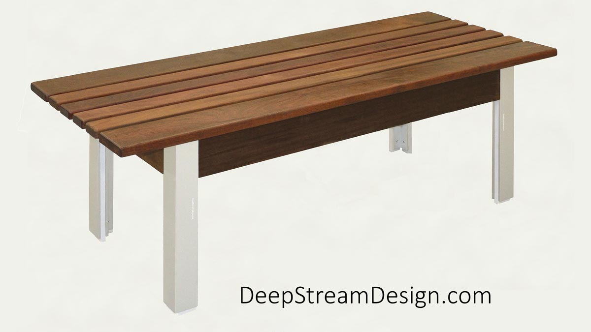 Studio photograph of The Perfect Modern Bench with Ipe Tropical hardwood seat and anodized silver aluminum legs.