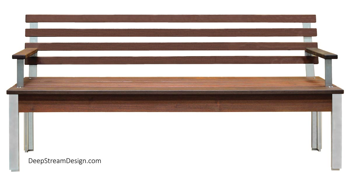 A studio photo of The Perfect Modern Bench with Back and arms in solid Ipe tropical hardwood taken directly from the front to show every detail of the frame, back, legs, and arms.