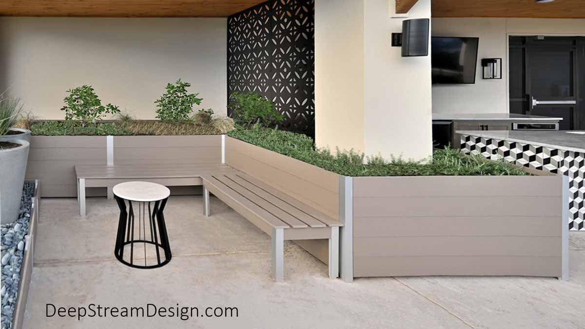 2 Perfect Outdoor Benches 72 inches long crafted with aged hardwood colored recycled plastic lumber on the rooftop deck common area of an apartment building used for BBQ and sunbathing.