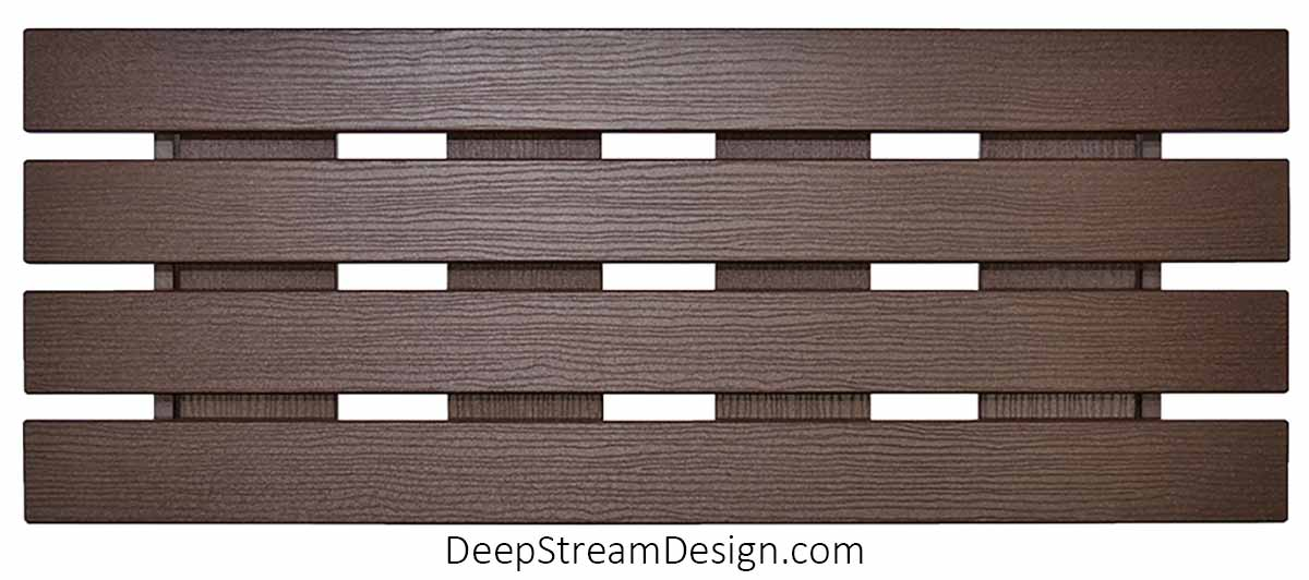 """Studio photograph of The Perfect Outdoor Bench photographed from above showing the comfortable 5"""" wide Ipe Brown-colored waterproof, UV-proof recycled plastic lumber slats that make up the seat which is fastened to an aluminum frame securely from below so there are no visible signs of attachment from above."""