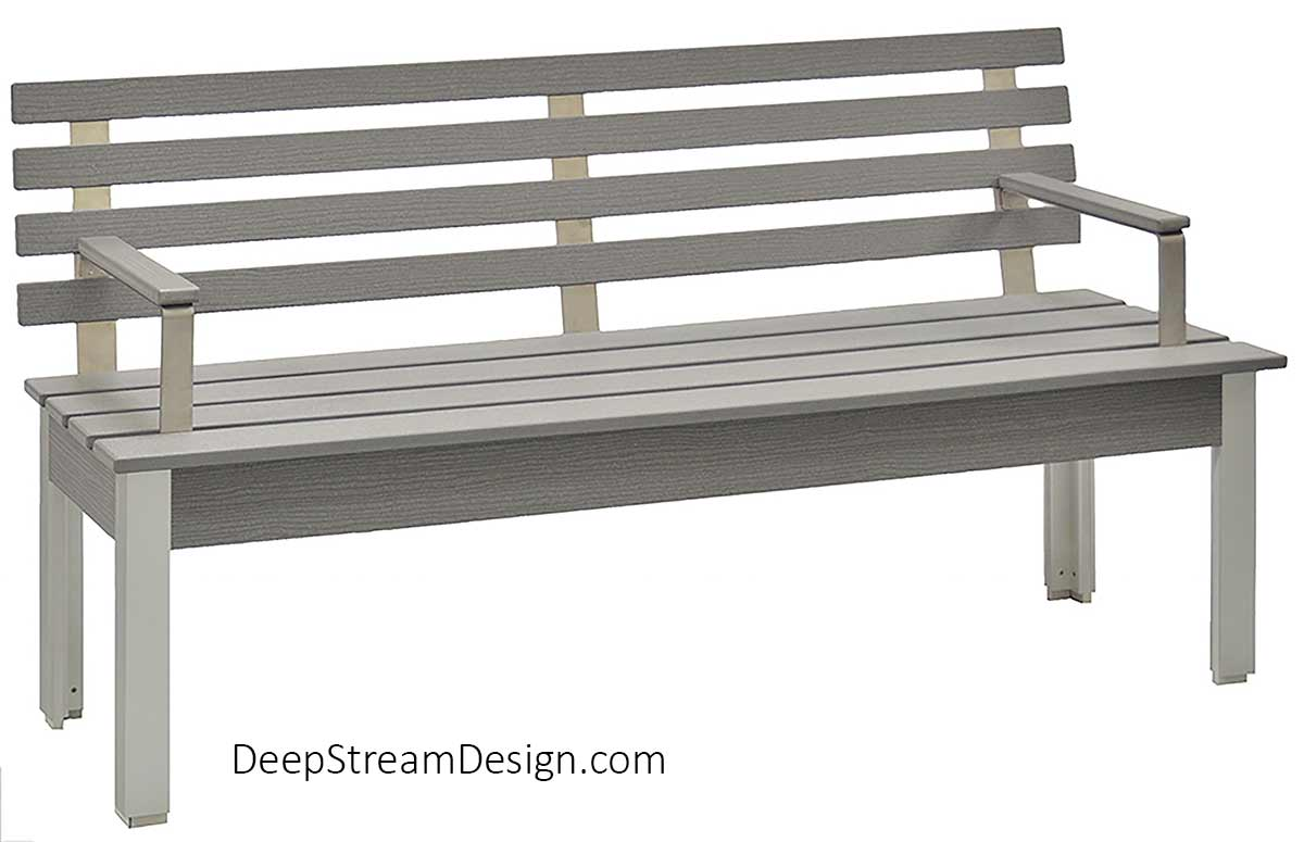 Studio photo from the front showing The Perfect Outdoor Bench with Back and armrests with a 60-inch slated seat crafted with Cement Gray colored no-maintenance recycled plastic lumber, marine-anodized sliver aluminum legs, and three 316 stainless steel back supports with 4 planks on the back.