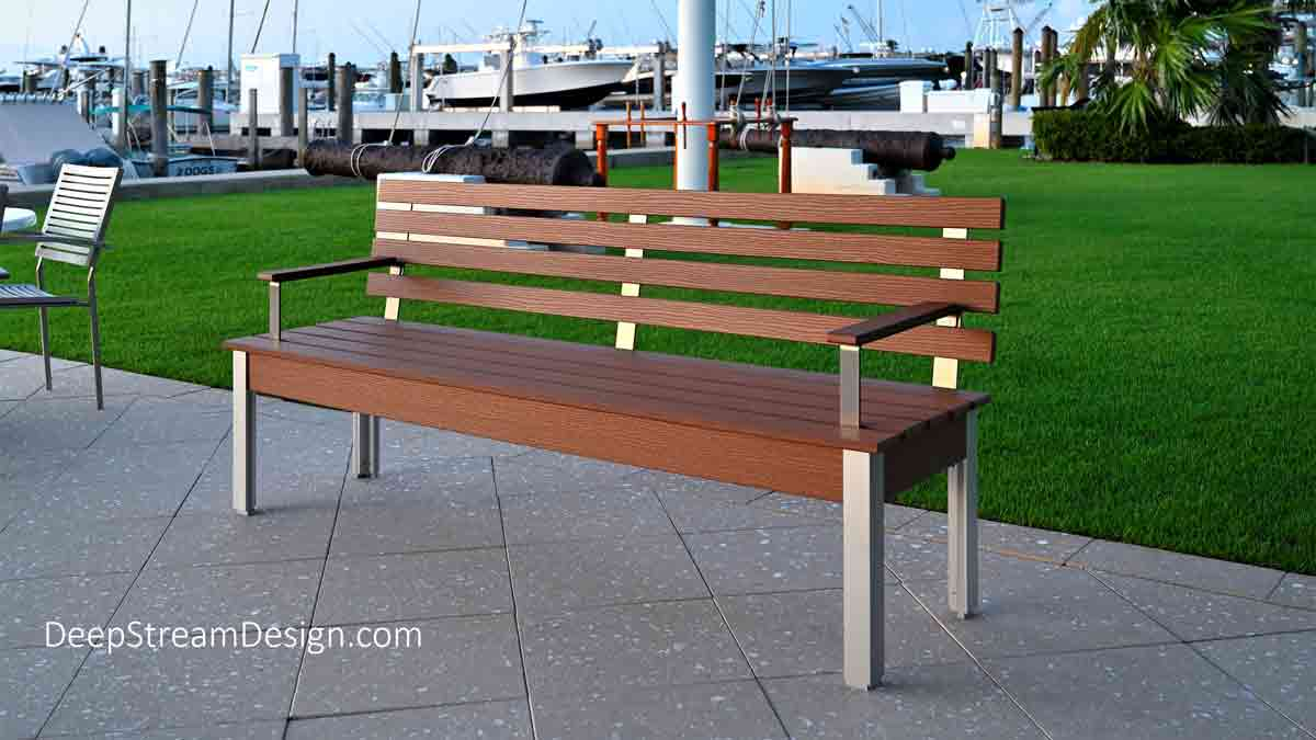 The Perfect Outdoor Bench with Back in recycled rich Tropical Hardwood plastic lumber and marine anodized aluminum make it great choice at this yacht club.