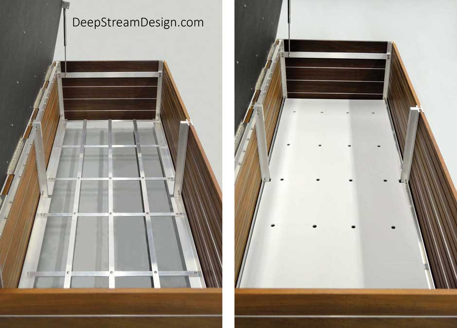 A composite studio photo showing The Perfect Outdoor Deck Box Bench lid open to highlight the design features. Stainless steel gas-assist springs lift the heavy Ipe top lined with a black plastic waterproof lid to shed rain that falls on the open plank lid, an aluminum grid support for a HDPE plastic sheet inner floor with drain holes that promote air circulation and drying of stored items.
