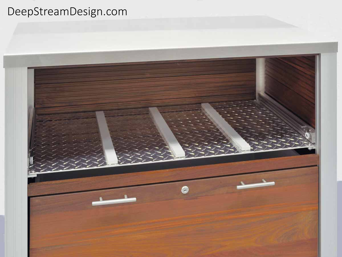 A studio photos with the top drawer  of the locking Outdoor Restaurant Food Service Cart removed to show the full width and depth stiff aluminum diamond plate with 3 slippery HDPE glide strips that support the drawer from underneath to ensure the drawers never sag or bind when heavy weight is placed in them.
