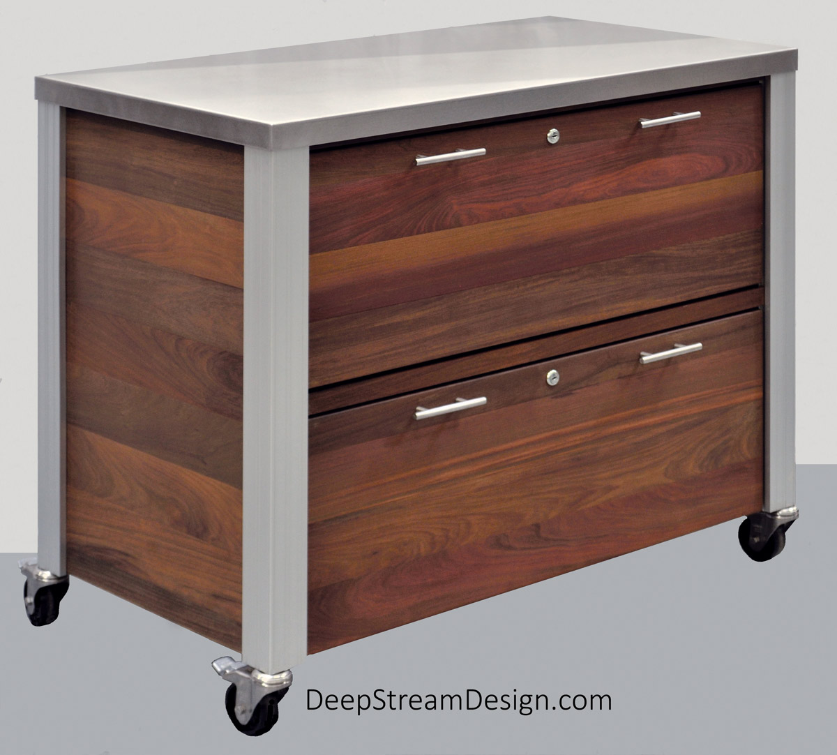 Studio photos of a weatherproof Ipe tropical hardwood Outdoor Restaurant Food Service Cabinet with two waterproof hygienic HDPE drawers and 316 stainless steel countertop, on stainless steel caster wheels.